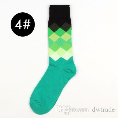 INS İngiliz Stil Izgara Hit Renk Erkek çorapları Erkek Spor Uzun Tüp Yumuşak Yüksek Kalite Mutlu Çorap 6 Renkler = C00535-2