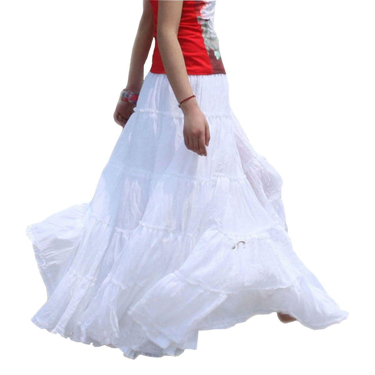 103c020607 Summer 100% Cotton Elegant Stitching Casual Span Dancing White Female Long  Skirt / BOHO Bohemia Pleated Maxi Skirts for Women
