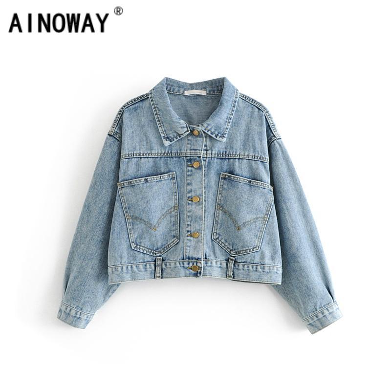 low priced 30685 a9505 Autunno Donna vintage Retro anti-tasca Giacca da cowboy corta giacca di  jeans manica pipistrello Capispalla donna Jeans donna