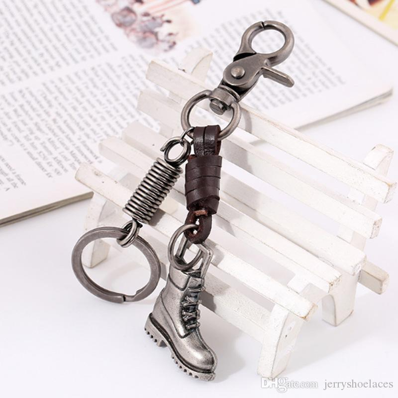 Retro Cowhide Key Rings Stylish Boots Shoes Keychain Unisex Backpack Pendant for Kids and Adults