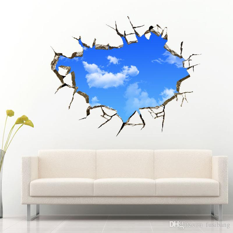 new art creative sticker sky clouds holes removable wall sticker pvc