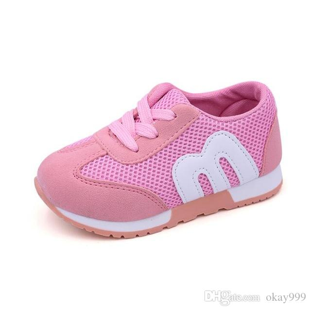 2019 M New Fashion Spring Summer lace-up Children Shoes Mesh Boys Girls Sandals Breathable Cut-outs Kids Sneakers Unisex EU 21-30 5pairs/lot
