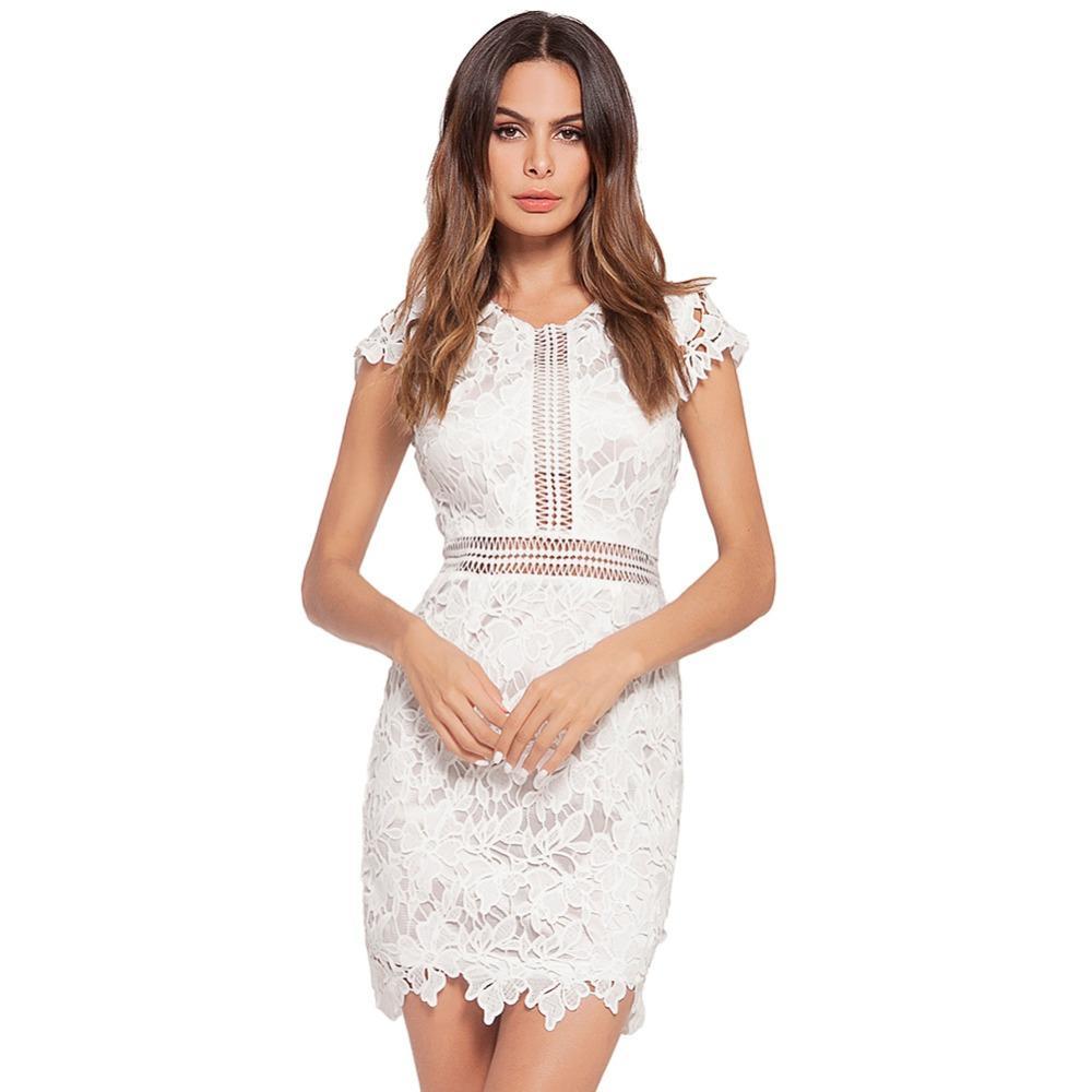 Compre Vestido De Encaje 2018 Verano Cuello Redondo De Manga Corta Mini  Vestido De Las Mujeres Blanco Rosa Partido Sólido Salir Vestidos Vestidos A   39.02 ... db4a20a3c932