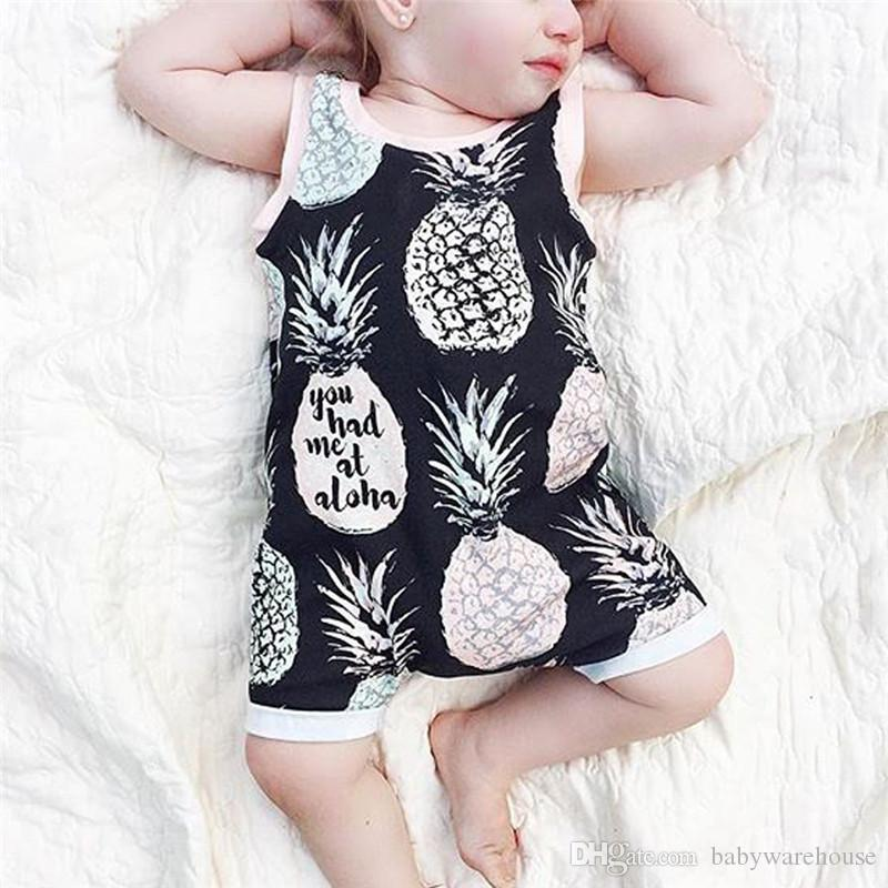 Yenidoğan Bebek Giyim Pamuk Kolsuz Romper 2018 Yaz Bebek Erkek Kız Ananas Baskılı Romper Jumpsuit Sevimli Çocuk Giyim Erkek Giyim