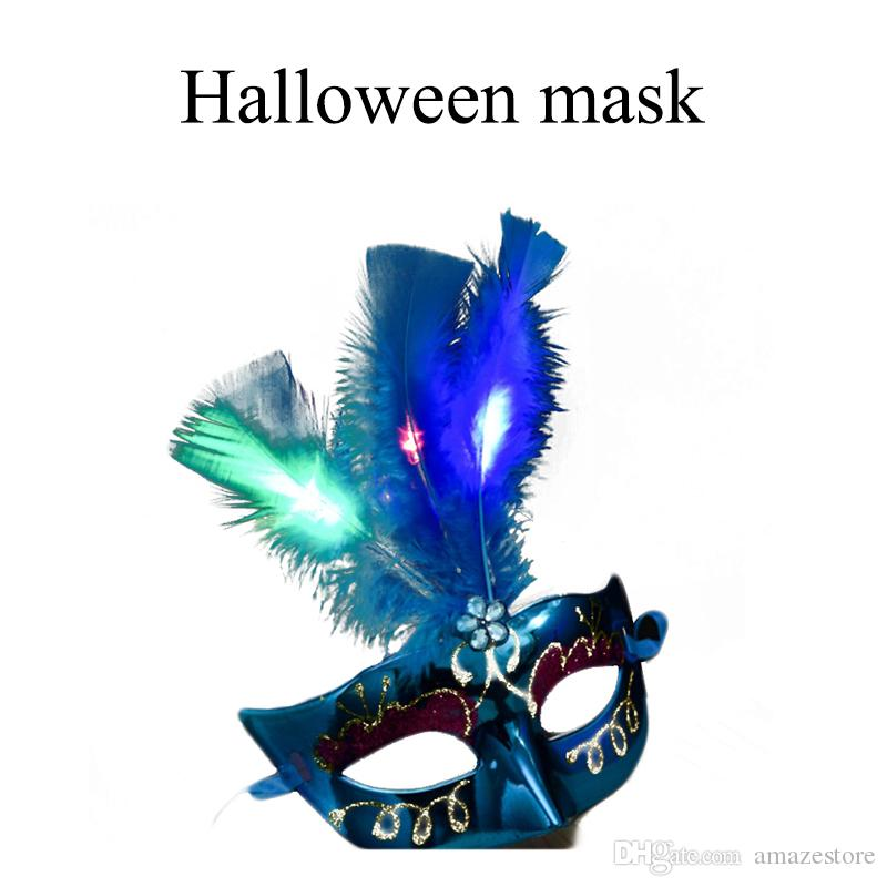 2019 Led Lights Feather Mask Mardi Gras Masquerade Dance Party Masks