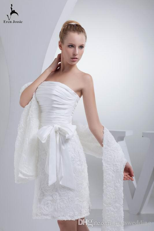 Professional Design 2018 New Style Short Weddng Dress With Lace Shawl Sheath Off Shoulder White Bridal Gown