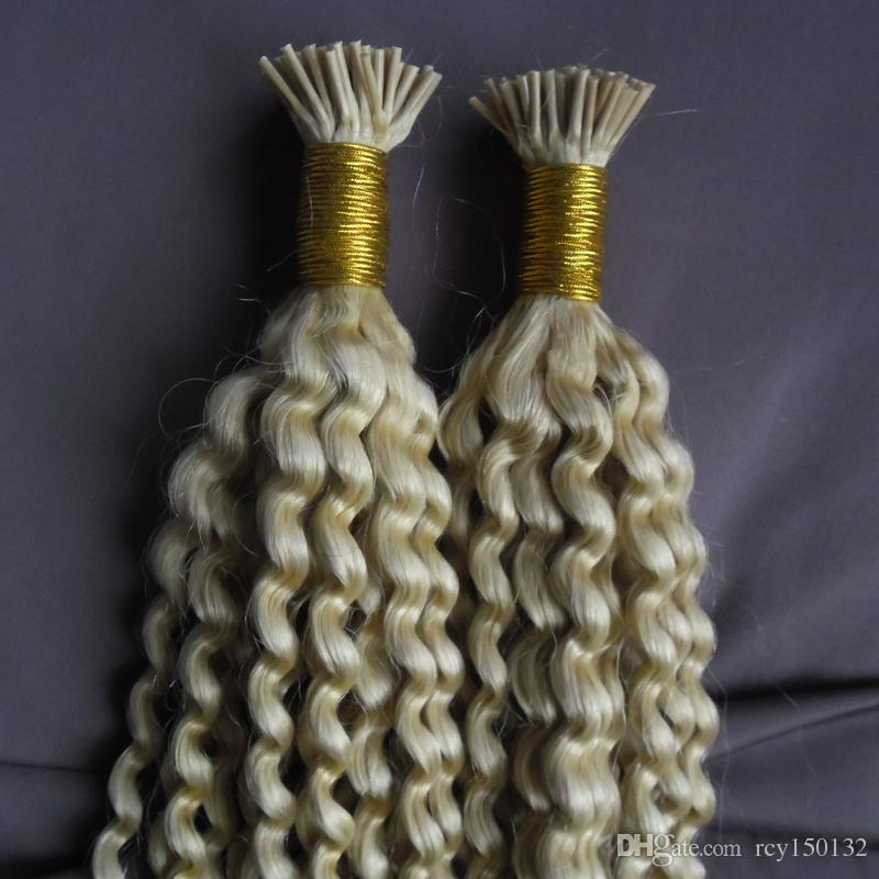 Eu Dica cabelo humano 613 extensões de Cabelo loiro Kinky Curly Remy Pre Bonded vida Real cabelo 200g 200 s