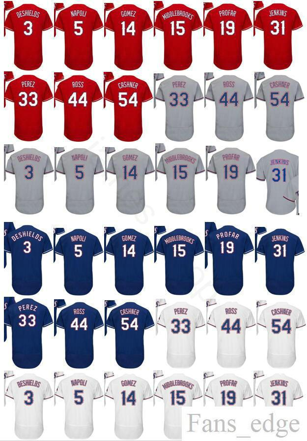 2019 2018 New Cheap Mens  3 Delino DeShields 5 Mike Napoli 14 Carlos Gomez  15 Will Middlebrooks 19 Jurickson Profar Home Road Baseball Jersey From  Fans edge ... 6a6a2e278