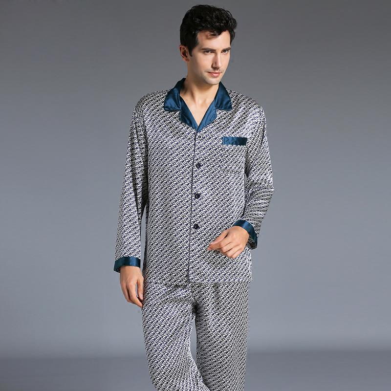 6f01e7feab 2019 New Arrival Fashion Men Silk Pajamas Set Pyjamas Set Male Printed Long  Sleeved Sleepwear Soft Cozy For Sleep Lounge From Yyliang