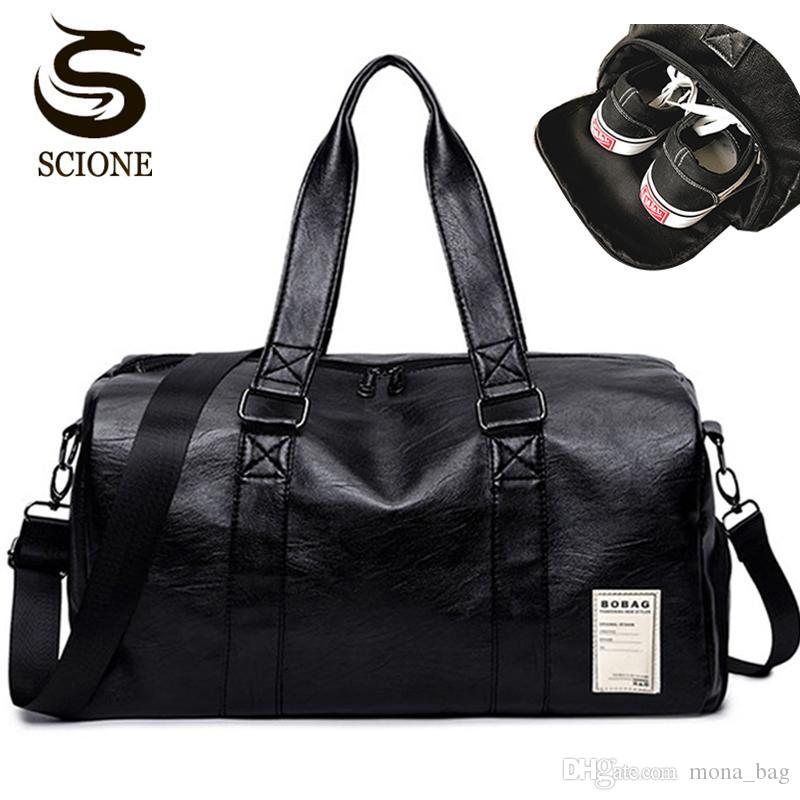 8dea8e2adf Mens PU Leather Travel Bag Male Big Duffel Bag for Men Women ...