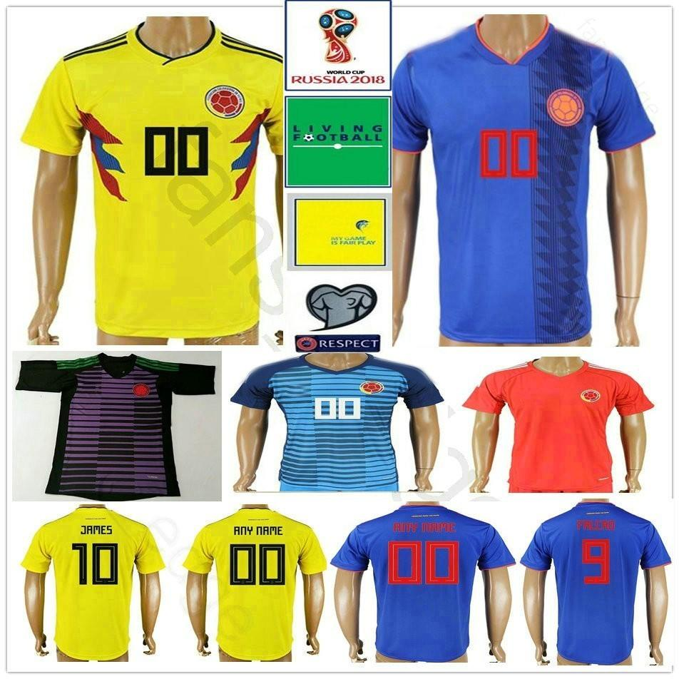 49d5a14f0cf 2019 2018 Colombia World Cup Soccer Jerseys 10 JAMES 9 FALCAO 11 CUADRADO 8  AGUILAR 13 GUARIN Custom Home Yellow White Blue Football Shirt From  Fans_edge, ...