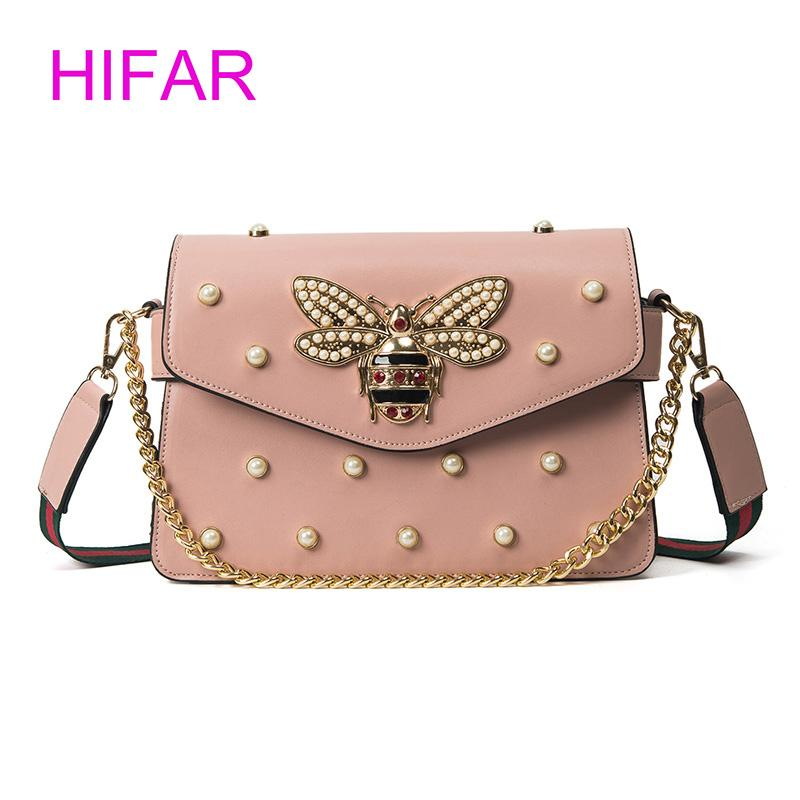 94138259df Fashion Women Messenger Bag New Brand Leather Female Shoulder Bag Luxury  Diamond Little Bee Woman Handbags Strap Bags Pink Red
