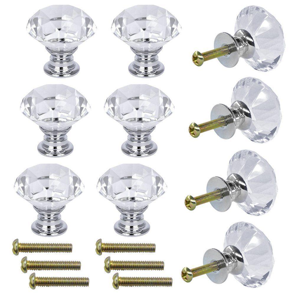 Cristal De Vidro Do Armário Maçanetas 30mm Forma de Diamante Gaveta Armários de Cozinha Cômoda Armário Armário Puxadores alças