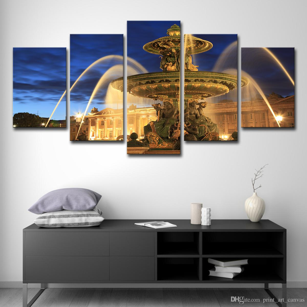 Satın Al Modern Tuval Boyama Duvar Sanatı Resimleri 5 Parça Heykeli