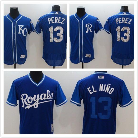 meet 31de4 49473 custom Men s Women Youth Majestic KC Royals Jersey #13 Salvador Perez 16  Paulo Orlando 16 Bo Jackson Home Nary Blue Baseball Jerseys
