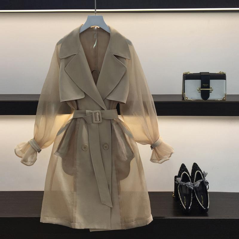 9617e9e6de6 2019 2018 New Korean Style Luxury Transparent Trench Coat Fashion Patchwork  Mesh Lantern Long Sleeve High Quality Outwear D18110702 From Shen8403
