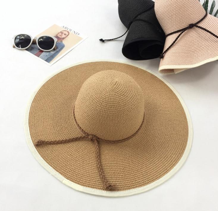 Compre Cúpula Cap Mulheres Verão Chapéu De Palha Grande Aba Larga