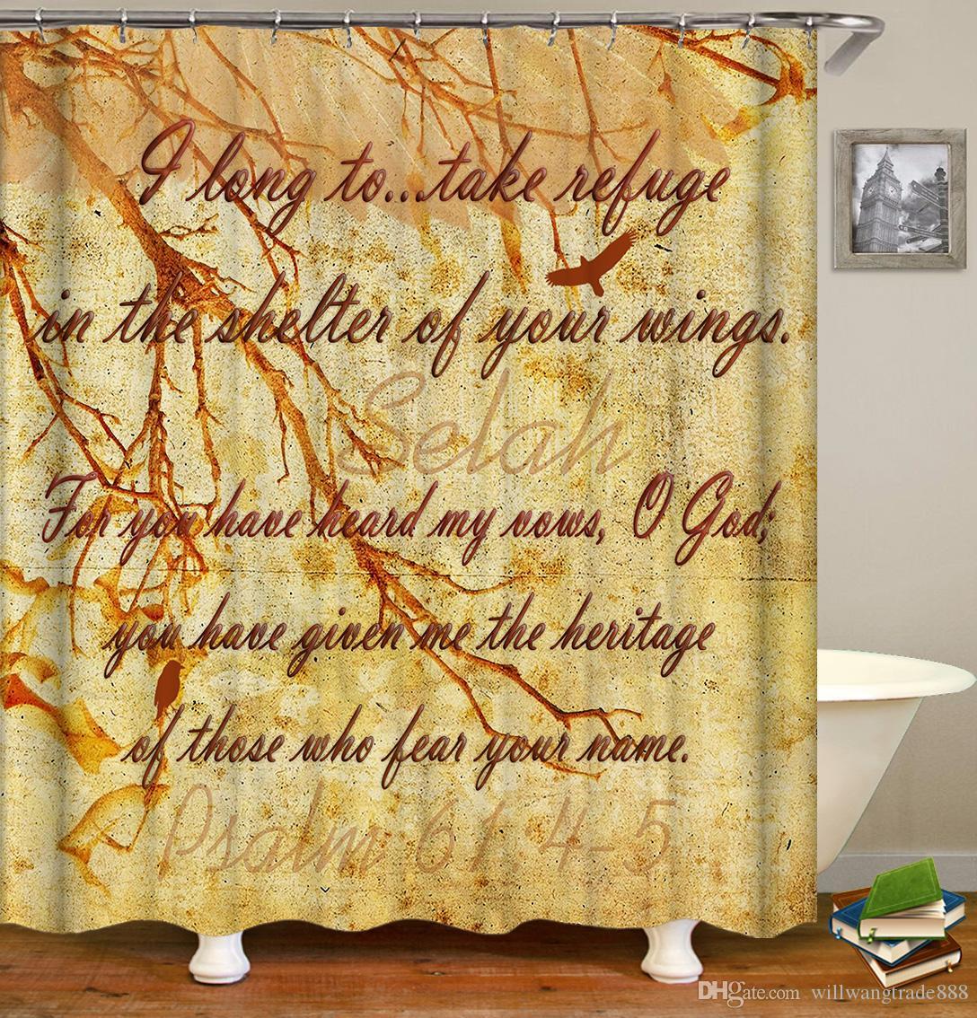 90x180cm 150x180cm 120x180cm Waterproof Retro Proverb motto Verse Poetry Letters Sentences Digital Printing Bathroom Shower Window Curtain