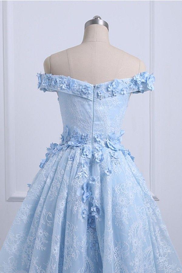 2019 haut bas robe de bal bébé bleu hors de l'épaule asymétrique robes de bal 3d appliques florales fermeture éclair jusqu'à robes de soirée