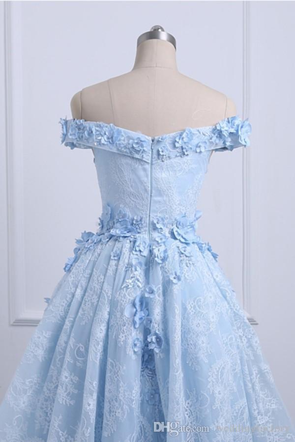 2019 High Low Prom Dress Azul bebé fuera del hombro Vestidos de baile asimétricos 3d Apliques florales Cremallera hasta Vestidos de fiesta de noche
