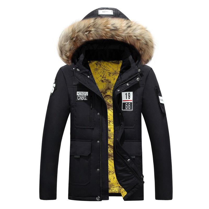 Down Coat Male Winter White Duck Warm Parka Men Real Natural Rabbit Fur Collar Hooded Quality 2017 Snowboard Long Overcoat Black