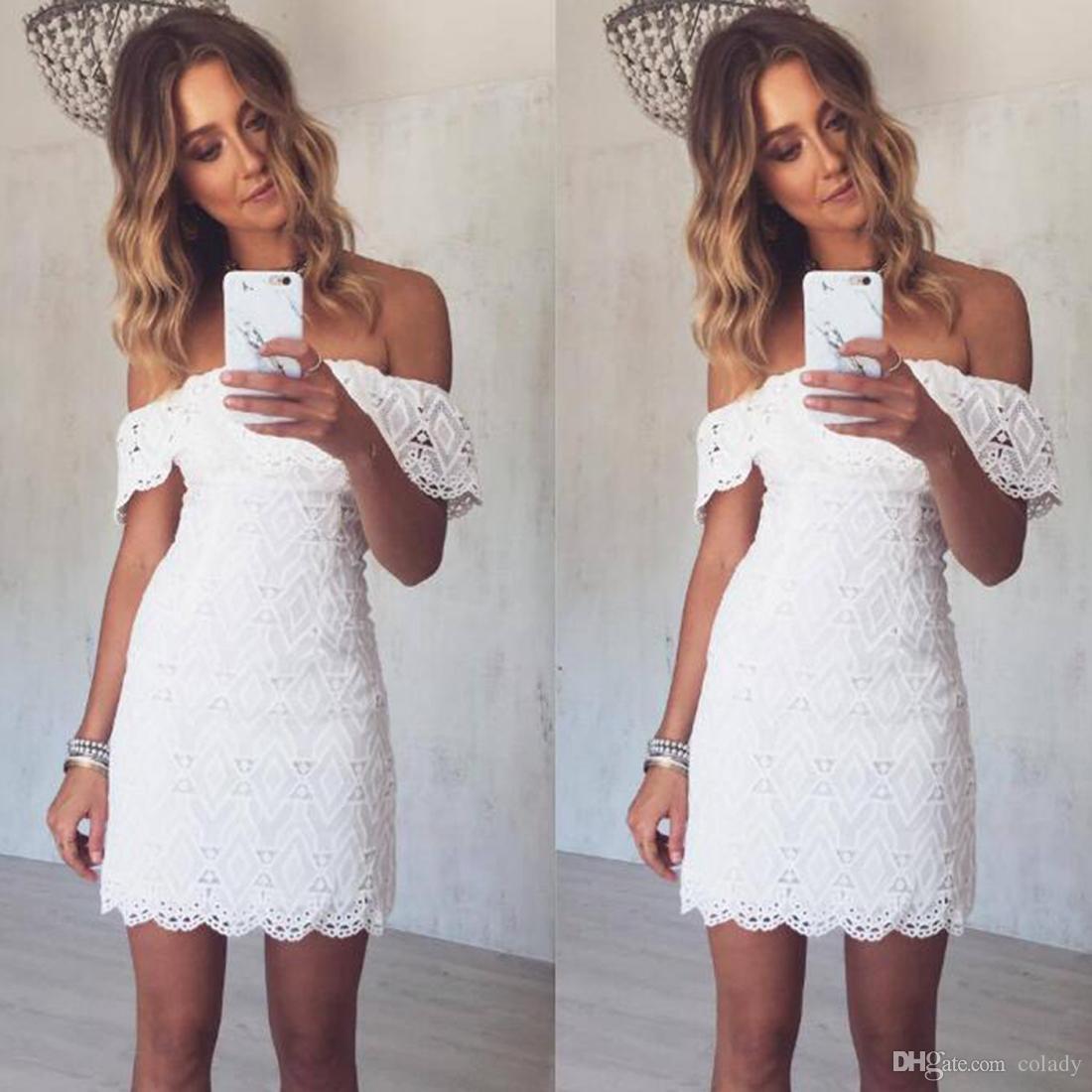 Vestido blanco Slash cuello de encaje vestido de verano elegante sexy Off hombro vestido de fiesta femenina vestidos ajustados para mujeres ropa