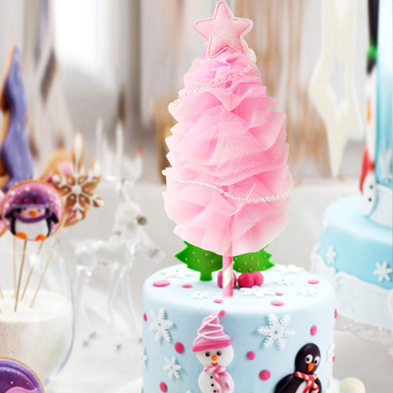 2019 21cm Holiday Party Christmas Tree Cake Topper Girls Birthday