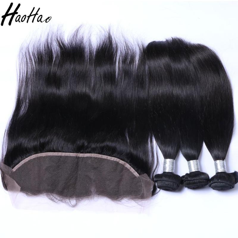 Fasci di capelli umani brasiliani con chiusura 4 * 4 e capelli umani frontali 13 * 4 capelli vergini brasiliani dritti donne nere afro-americane