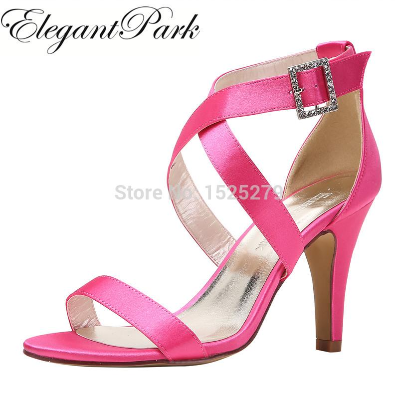c8aaf07281f HP1818 Women Peep Toe High Heel Strappy Sandals Buckle Satin Lady Bride  Wedding Party Prom Shoes Black Ivory Navy Blue Pink Red Walking Sandals  Sandals From ...