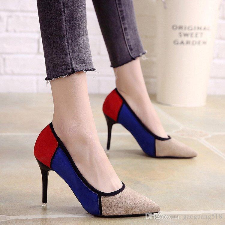 2018 новый корейский наконечник штраф с высокими каблуками мода заклинание цвет мелкий рот обувь