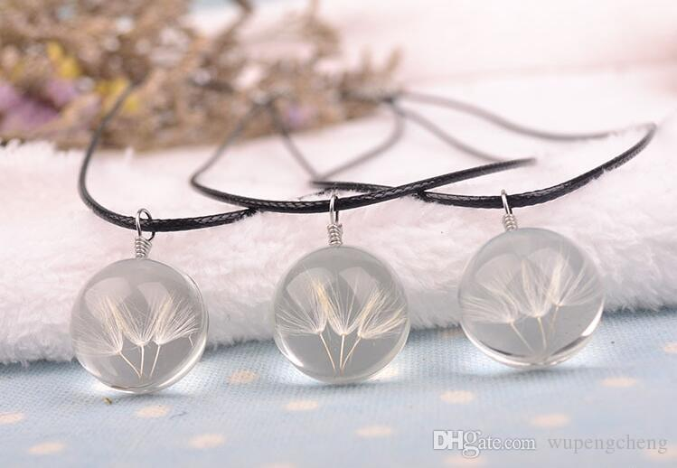New fashionable natural dandelion seed crystal glass ball, necklace oval glass pendant necklace, make a wish glass bead jewelry.