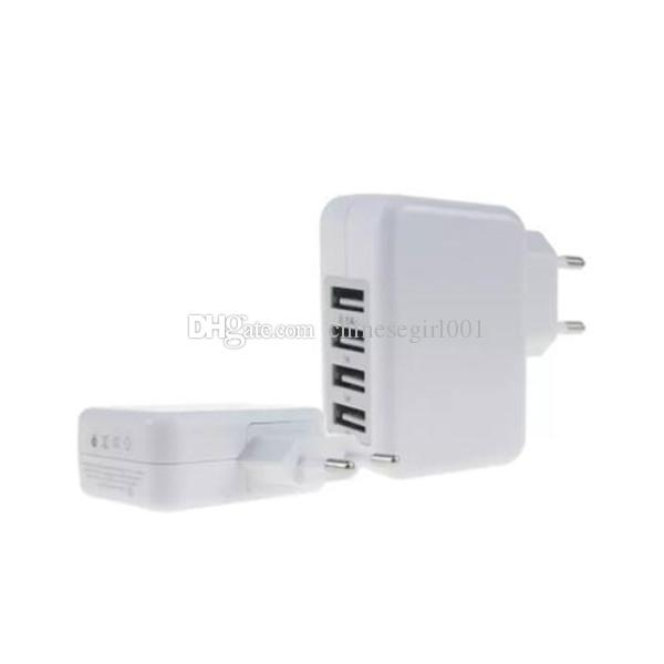5V 3.1A 4 Adattatore di alimentazione caricabatterie da viaggio caricabatterie da parete con porta USB iPhone X 6 7 con confezione di vendita