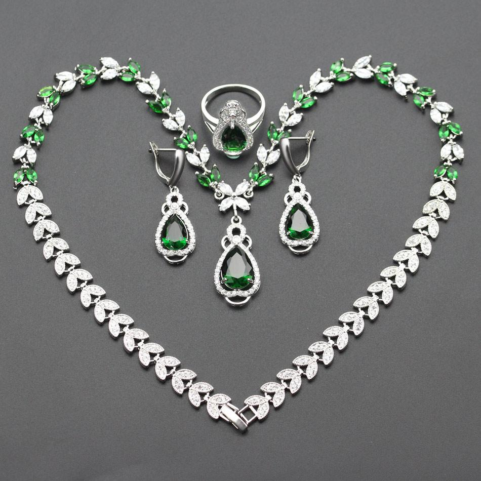 Whole SaleNew Green Crystal Jewelry Sets For Women Birthday Gift Silver  Color Necklace Earrings Rings Pendant Js32 Jewellery Sets Rhinestone Jewelry  From ... d9c42d351a62