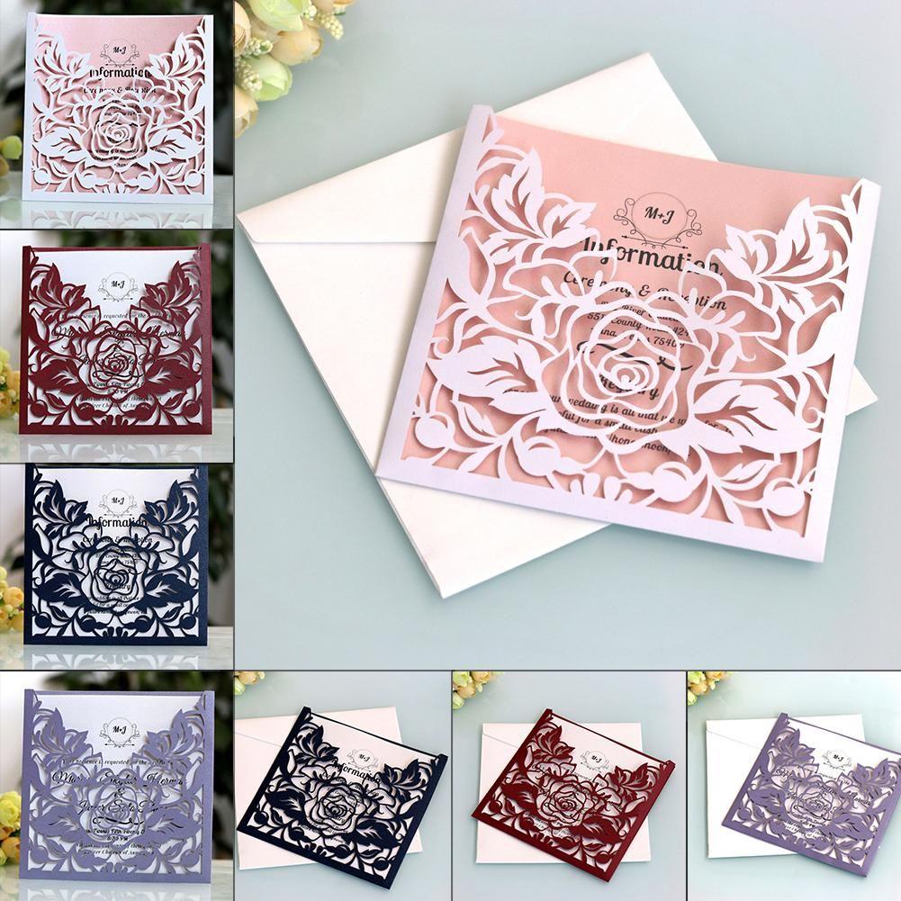 Lace Pocket Wedding Invitations Cards Square Laser Cut Rose Flower