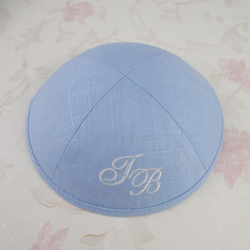 Personalized kippot, kippah , yarmulke customize sky blue kipa, kippa skullcap, dome for wedding bar- mitzvah Linen fabric with embriodery