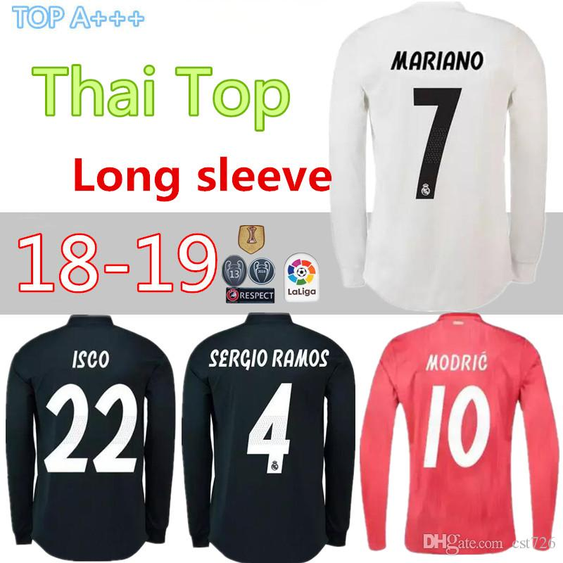 262f8e5c9 2019 2018 2019 Real Madrid Home Long Sleeve Soccer Jersey 18 19 BENZEMA  ISCO BALE ASENSIO MODRIC Away Third Red Champions League Football Shirt  From Cst726