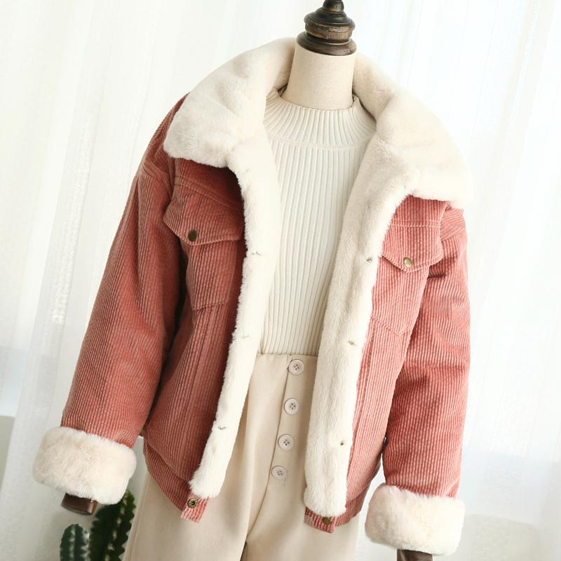 99da099f2dd3e 2019 Plus Size 2XL Loose Corduroy Jacket Women New Thick Winter Lambswool  Jackets Ladies Cute Coat Warm Parka From Mingmusic002