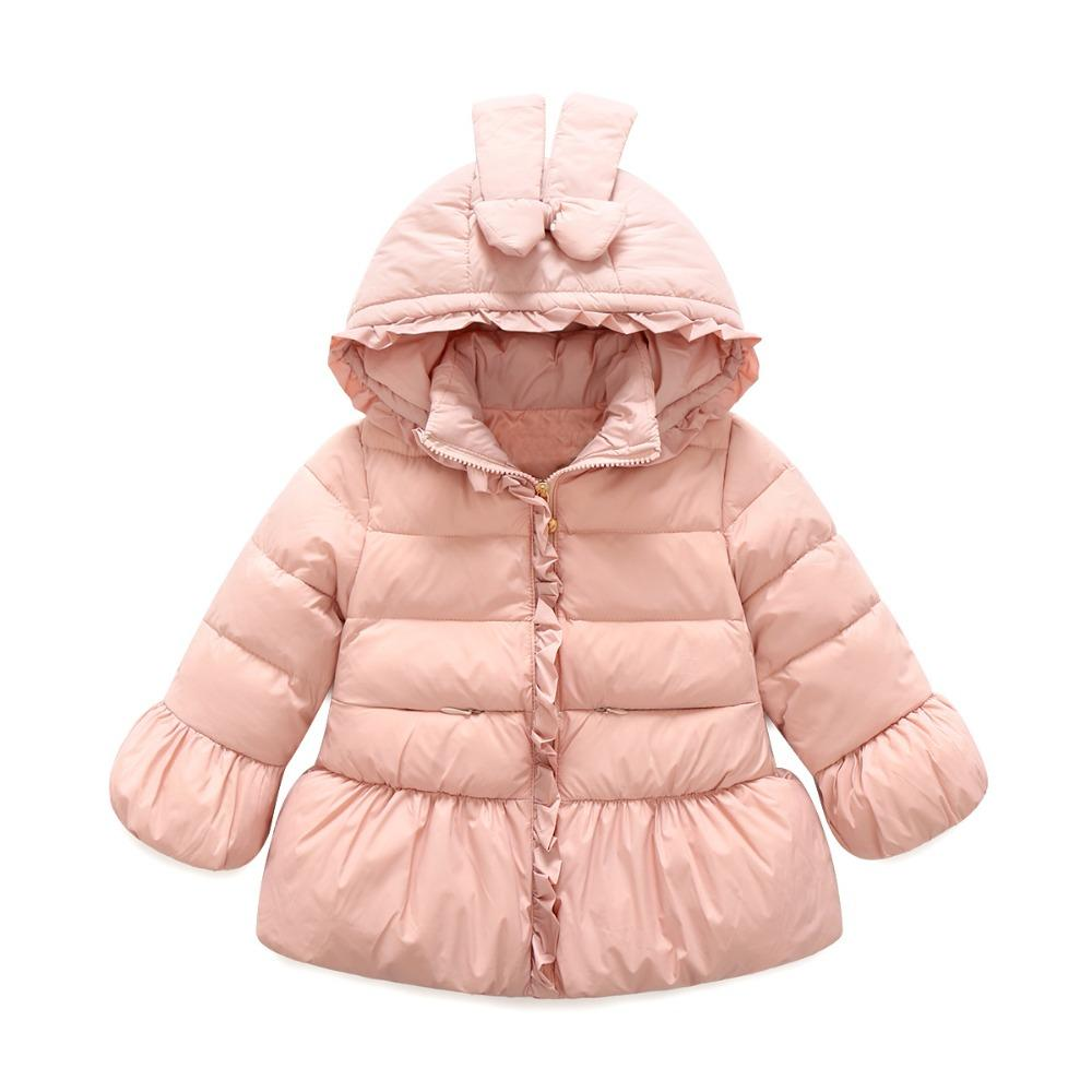 Gorgeous Ruffle 100% White Down Parkas for Baby Girls Thicken Wadded Jacket Hooded Children's Winter Coats Red Pink Purple