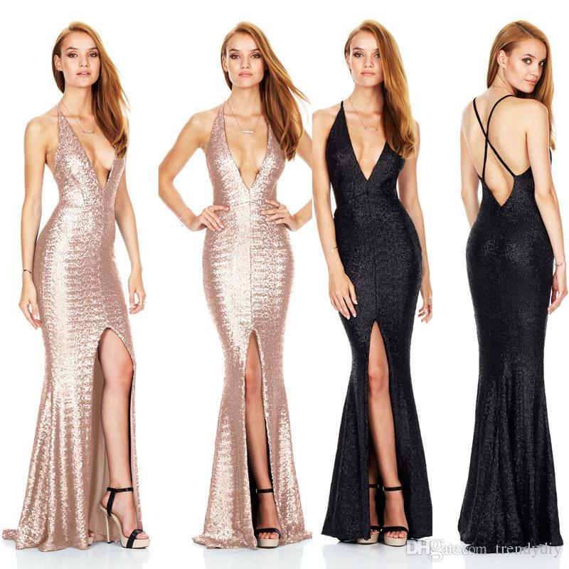 Großhandel Frauen Sexy Backless Halter Split Pailletten Maxi Kleid ...
