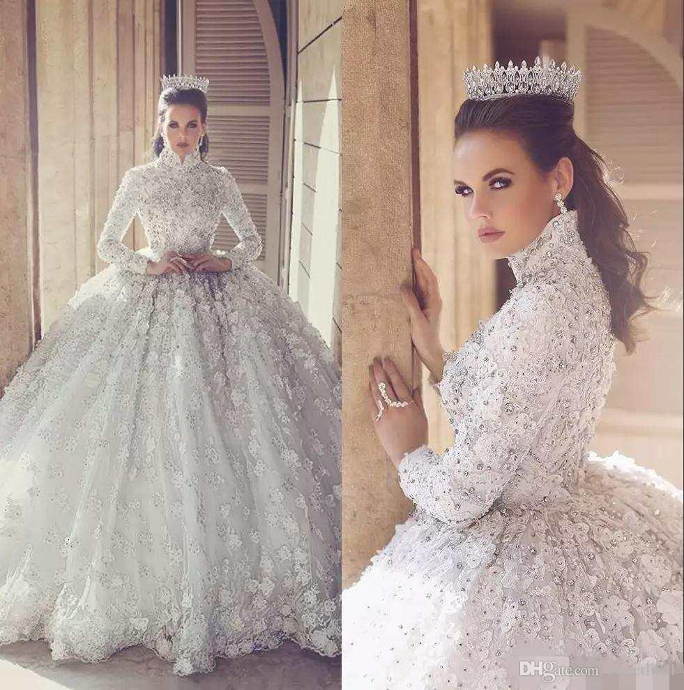 6ae56257d4d 2018 Luxury Lace Ball Gown Wedding Dresses With Long Sleeve 3D Floral  Appliques High Neck Arabic Bridal Gowns Crystal Beaded Wedding Dress Canada  2019 From ...