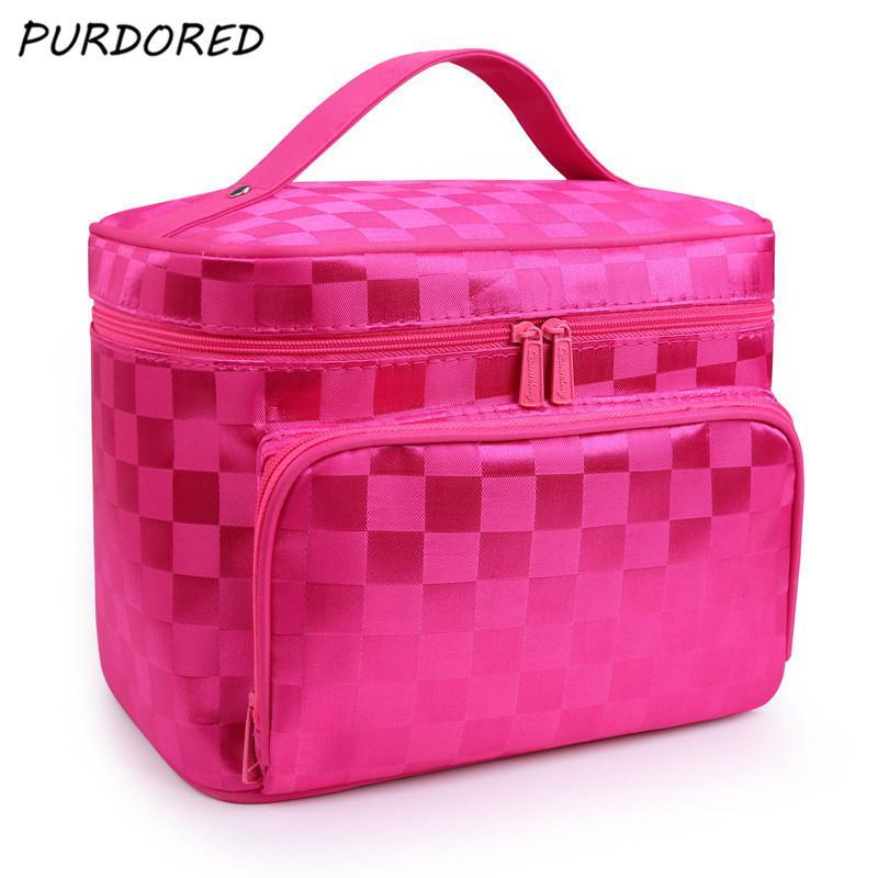 68c4470793ef PURPORED Women Striped Cosmetic Bag Folding Large Capacity Travel ...