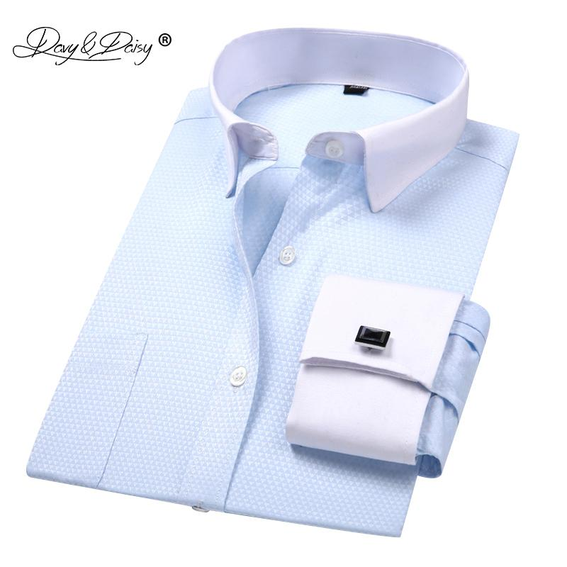 a5895bc0f554e DAVYDAISY 2018 New Arrival French Cuff Men s Shirt White Dress Shirt Long  Sleeved Man Formal Solid Man camisa masculin DS190 D18101306