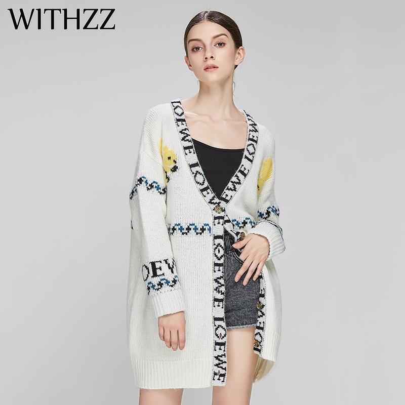1efcdf50c277 2019 WITHZZ Autumn Winter Long Animal Print Letter Cardigan Sweater Knit  Coat For Women Female Clothes Plus Size Top Jacket From Qingchung, $35.31 |  DHgate.