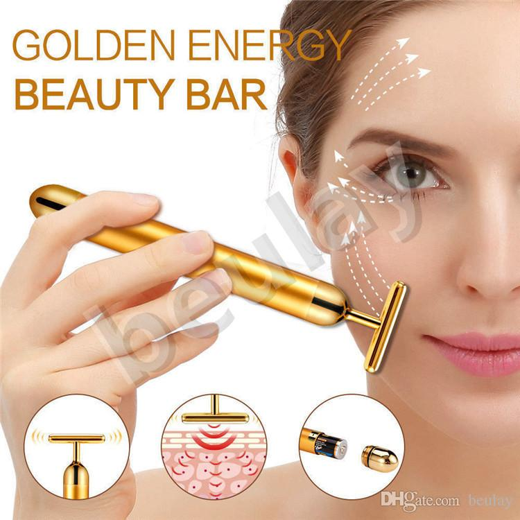 Energy Beauty Bar 24K Gold Facial Massager Anti-Ageing Wrinkle Face Vibrator Eye Bag Remover Pulse Firming Massager with gift box