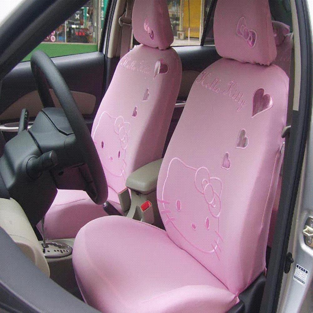 Cute Pink Heart Universal Hello Kitty Car Seat Covers Cartoon Cushion Styling Interior Accessories For Women Cover Leather Sale