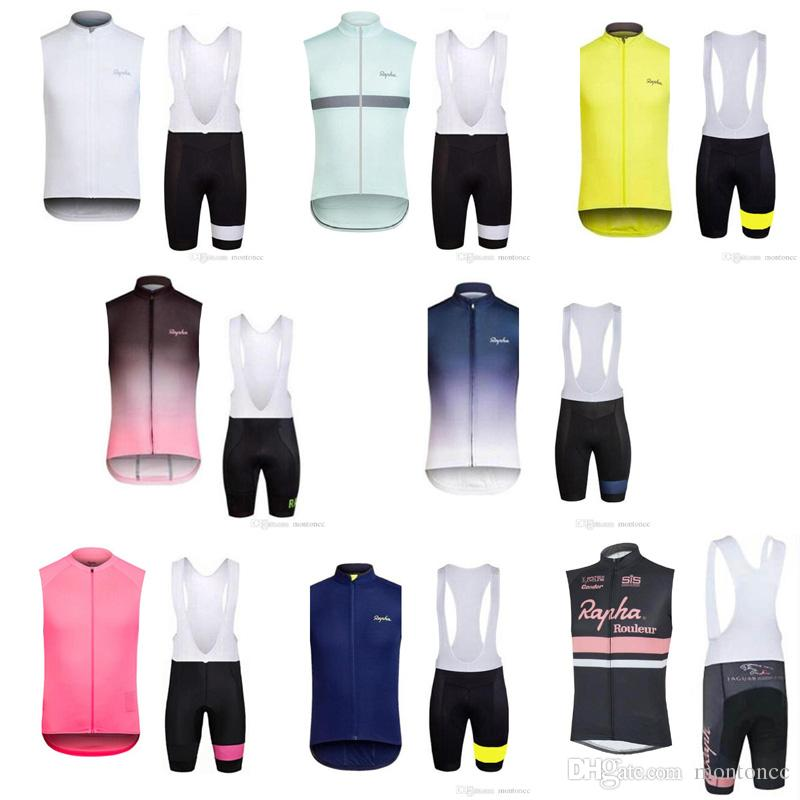 242248f83 RAPHA Team Cycling Sleeveless Jersey Vest Bibshorts Sets Breathable Bicycle  Clothing Quick Dry Men Mountain Bike Clothes E61505 RAPHA Cycling Jersey  Ropa ...