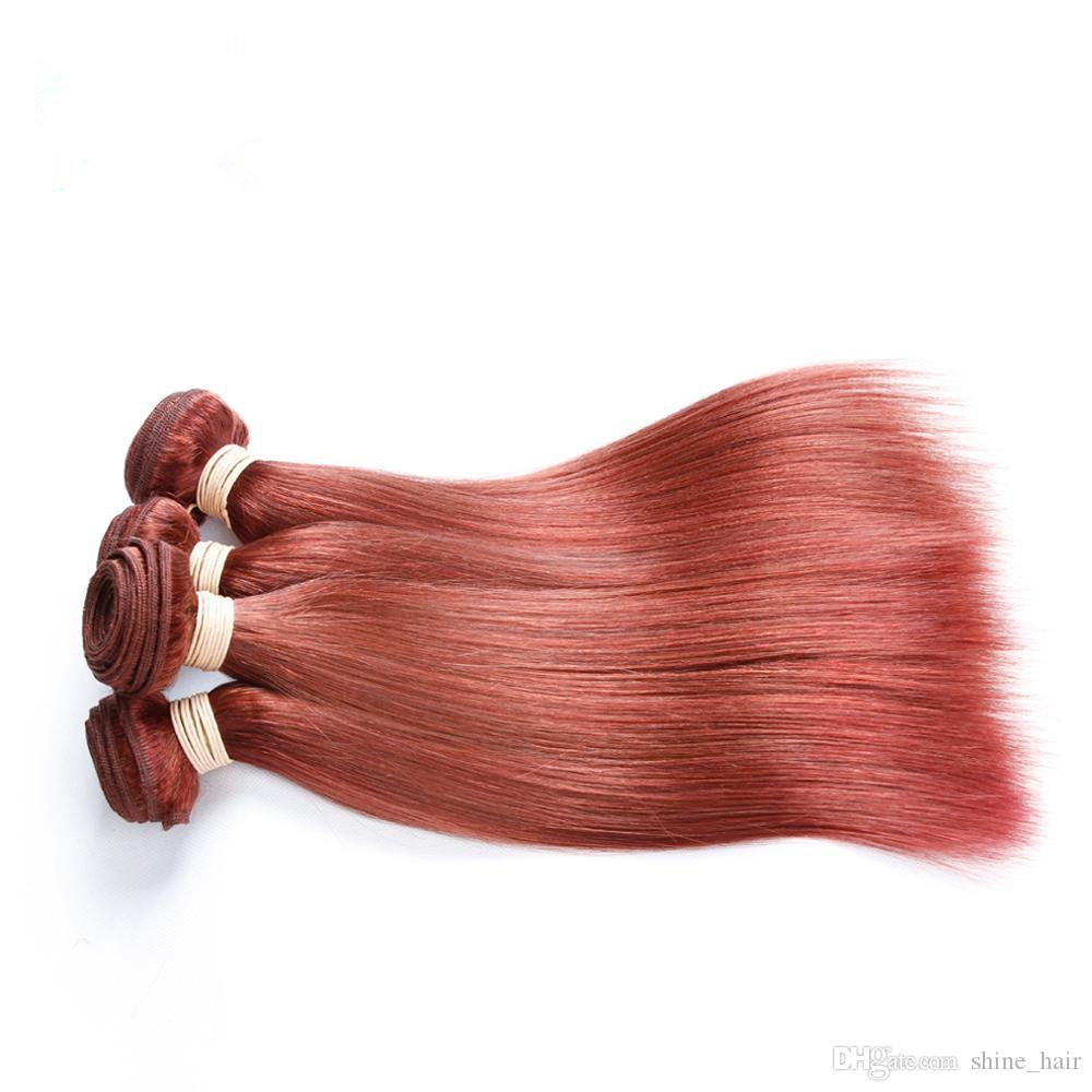 #33 Brazilian Reddish Brown Human Hair Weaves Silky Straight Auburn Human Hair Weave Bundles Virgin Remy Human Hair Double Wefts