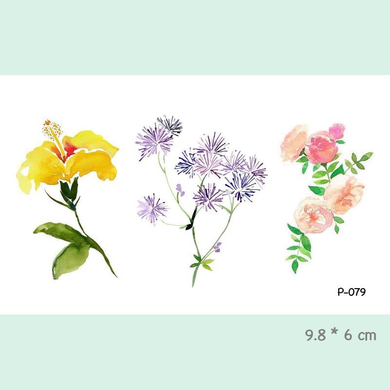 Acheter Aquarelle Fleur Autocollants De Tatouage Temporaire Etanche