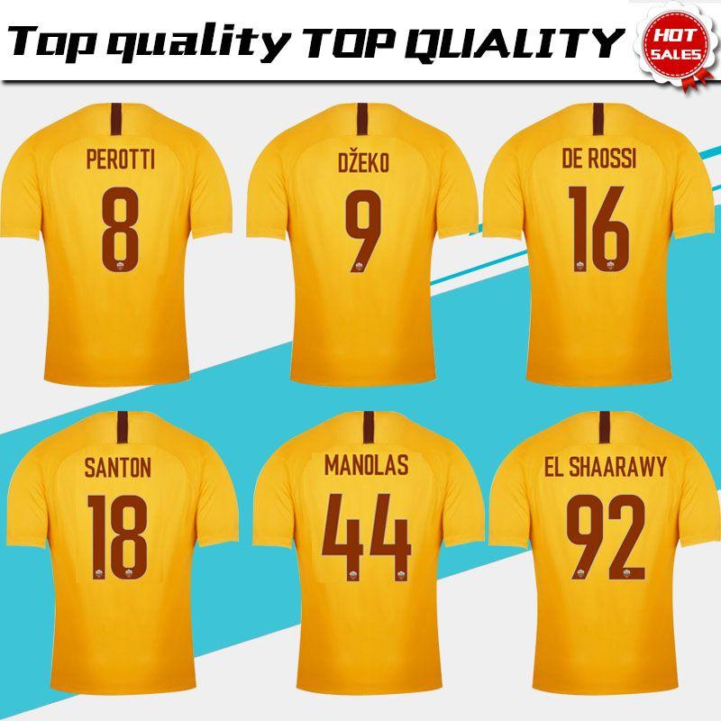 a2b03588ab 2019 TOTTI Roma Terceira camisa de futebol amarelo 18 19   16 DE ROSSI Roma  3ª camisa de futebol personalizado   9 DZEKO   92 EL SHAARAWY Uniforme de  ...