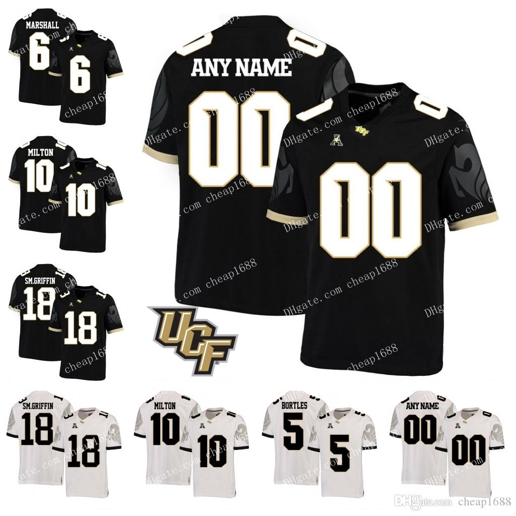 the best attitude 1c88e 72058 Custom UCF Knights 10 McKenzie Milton 8 Darriel Mack Jr. 12 Quadry Jones  Black White Stitched Any Name Number College Football Jersey